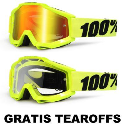 100% –  Accuri Brille – Neongelb / GRATIS TEAROFFS