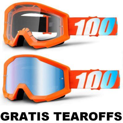 100% –  Strata Brille – orange / GRATIS TEAROFFS