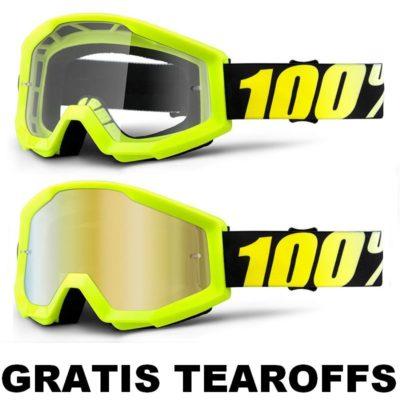 100% –  Strata Brille – Neongelb / GRATIS TEAROFFS