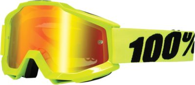 100% BRILLE ACCURI FLUO YELLOW OFFROAD GOGGLE VERSPIEGELTES GLAS MIRROR RED LENS