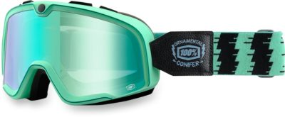 100% BRILLE BARSTOW ORNAMENTAL CONIFER RACING GOGGLE VERSPIEGELTES GLAS MIRROR GREEN LENS