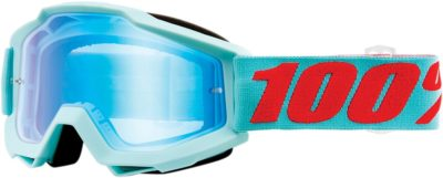 100% BRILLE ACCURI MALDIVES OFFROAD GOGGLE VERSPIEGELTES GLAS MIRROR BLUE FLASH LENS