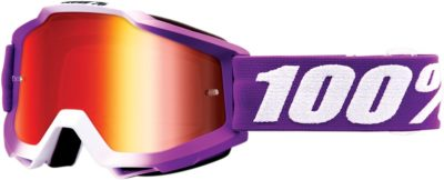 100% BRILLE ACCURI JR FRAMBOISE OFFROAD GOGGLE VERSPIEGELTES GLAS MIRROR RED LENS