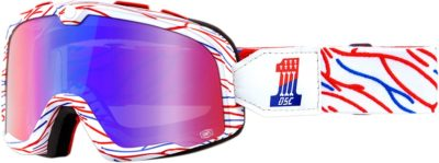 100% BRILLE BARSTOW DEATH SPRAY CUSTOMS RACING GOGGLE VERSPIEGELTES GLAS MIRROR RED/BLUE LENS