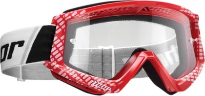 THOR BRILLE GOGGLE COMBAT CAP OFFROAD MOTOCROSS ROT WEISS