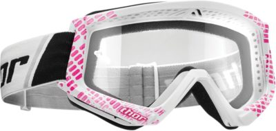 THOR BRILLE GOGGLE COMPAT CAP OFFROAD MOTOCROSS PINK/WHITE